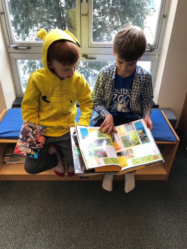 Jackson & Finn at the library